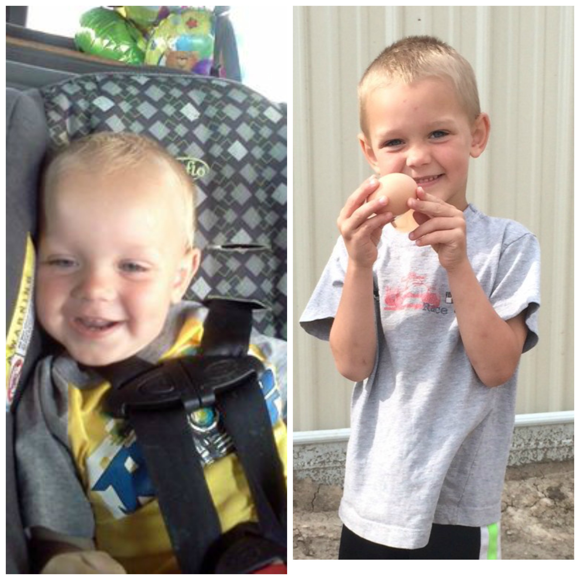 On the left:  Quinton on the way home from the hospital.   On the right: Quinton showing off a chicken egg three years after his seizure.